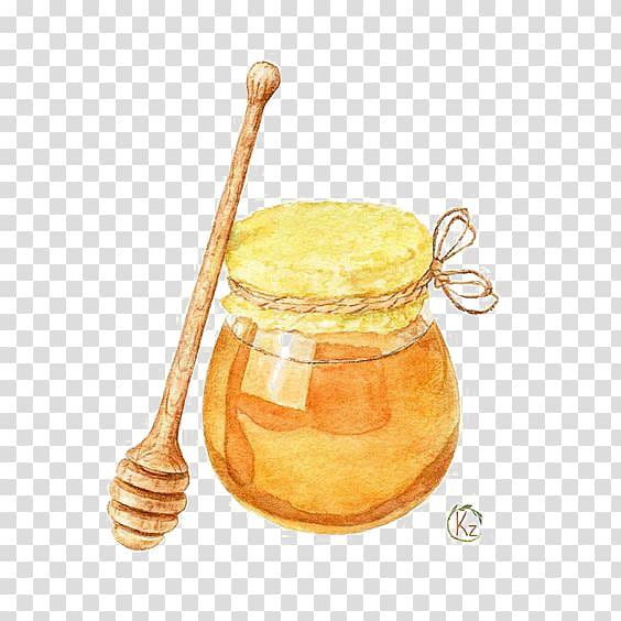 Honey jar , Honey Drawing Watercolor painting Illustration.