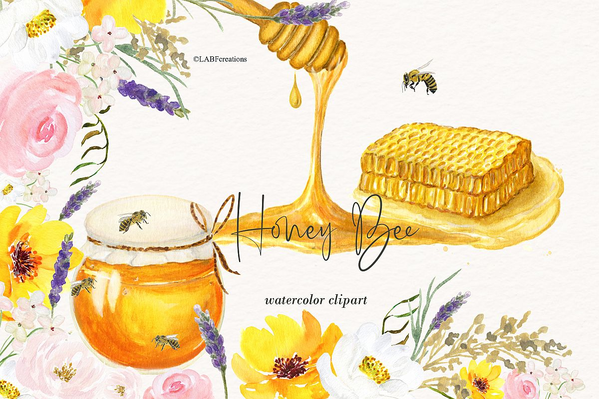 Watercolor Honey Bee Clipart. Honeycombs and hives..
