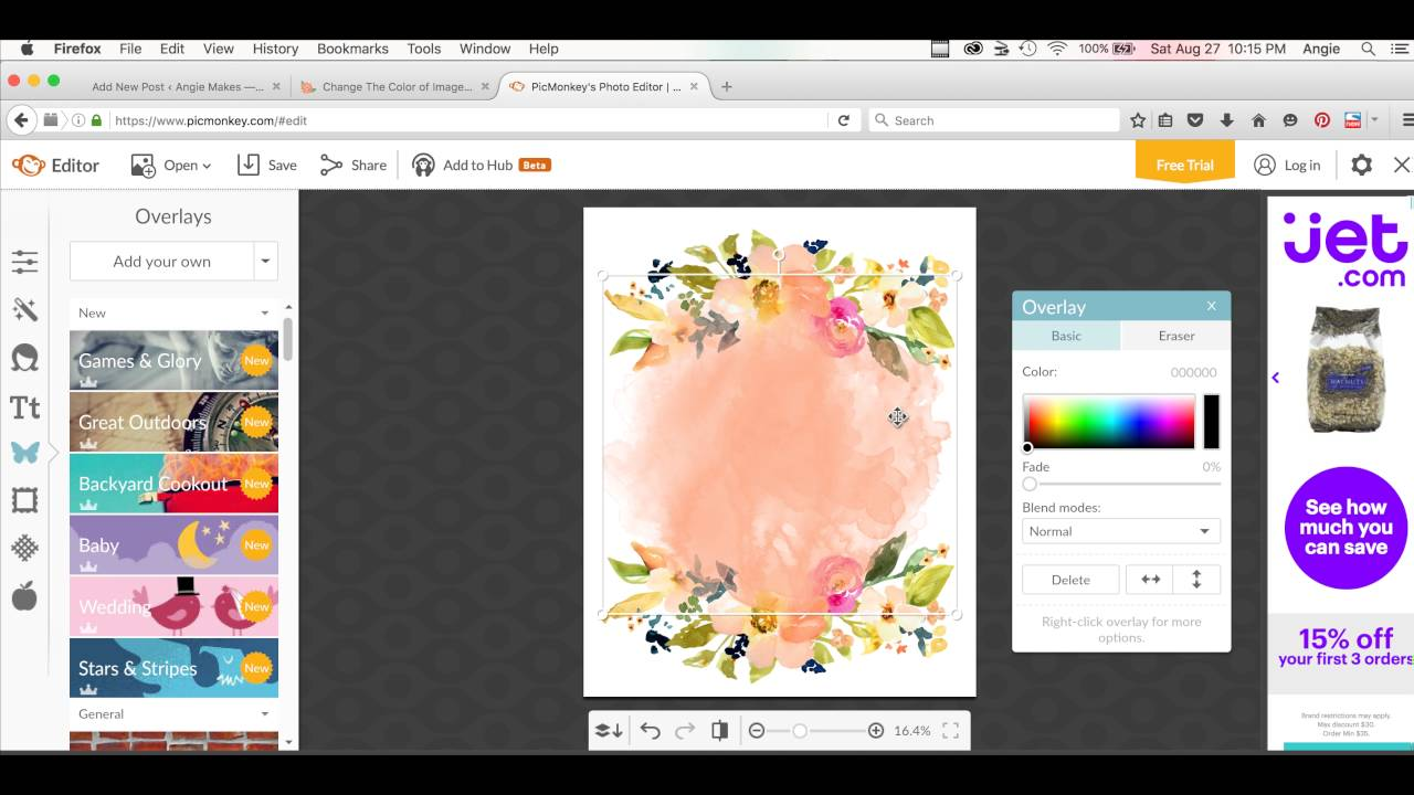 How to Create Printable Artwork In Picmonkey Using Angie Makes Clip Art.
