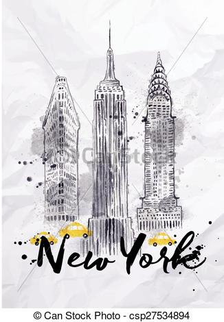 Watercolor Clipart Of New York.