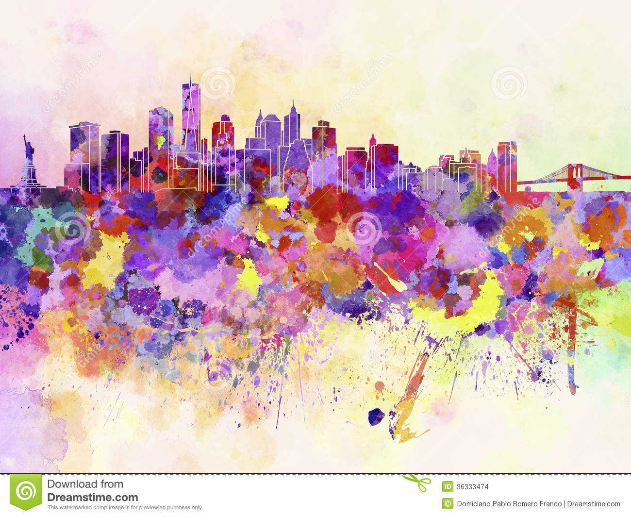 New York Skyline In Watercolor Background Stock Images.