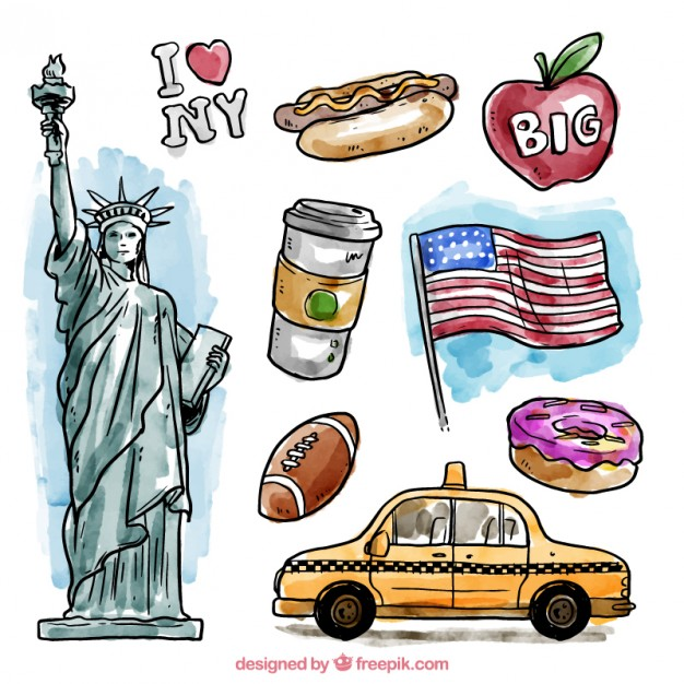 Watercolor New York Elements Vector.