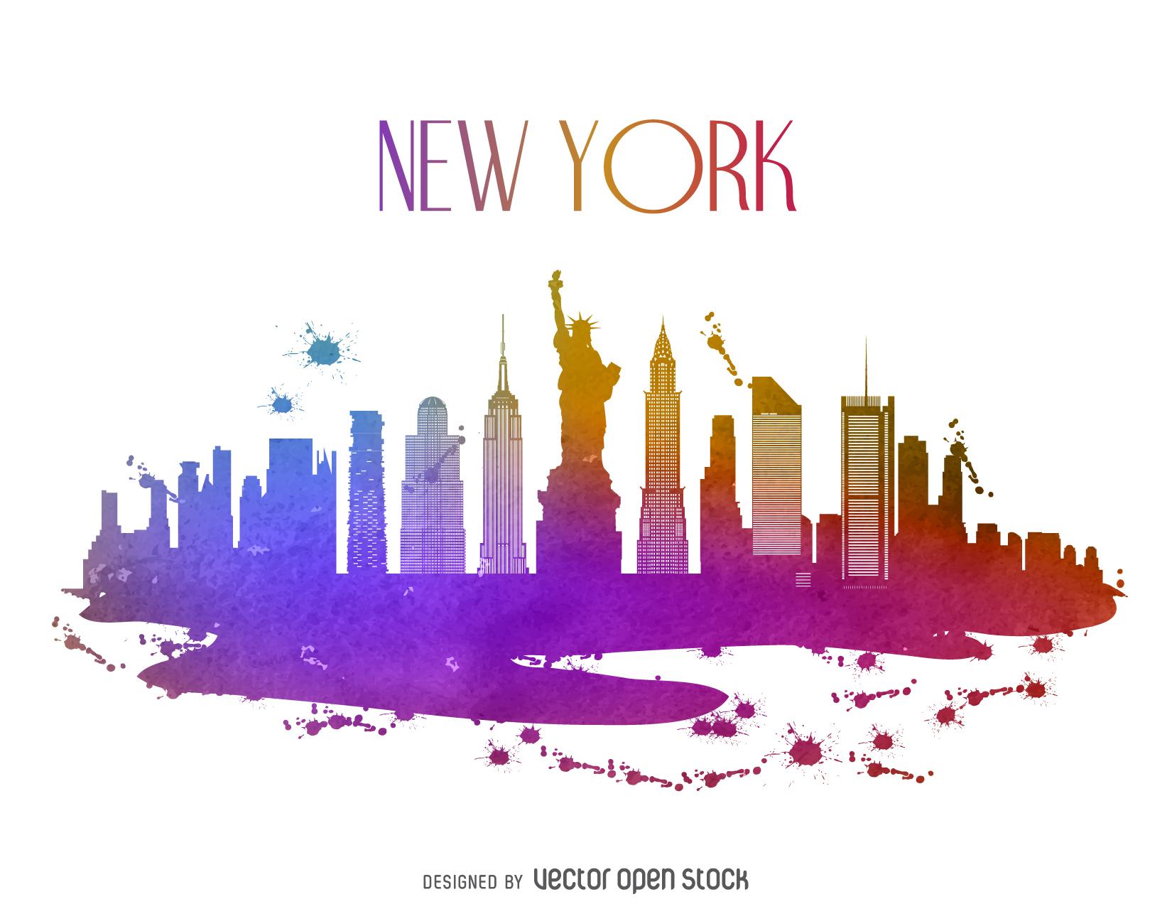 New York watercolor skyline.