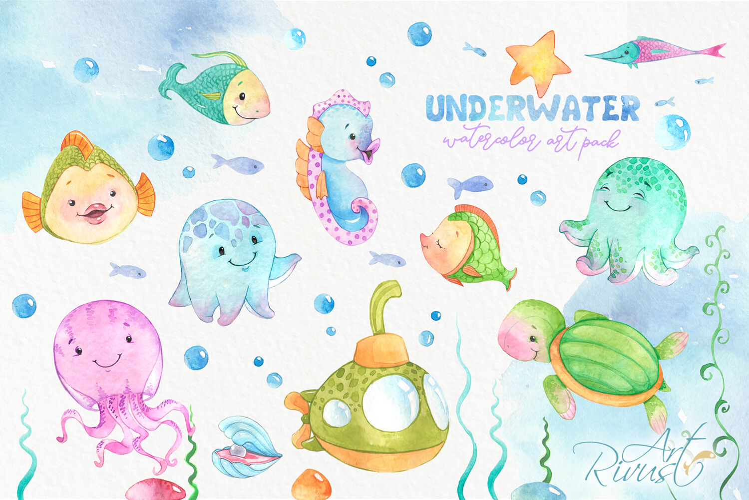 Mermaid and Underwater friends PNG watercolor clipart pack.