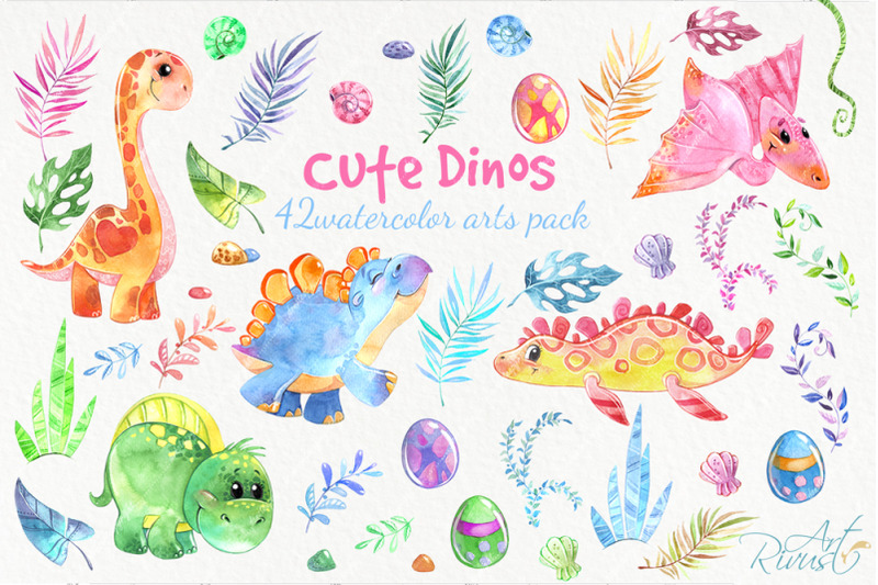 Dinosaurs, cute Dino baby watercolor clipart pack By Rivus.