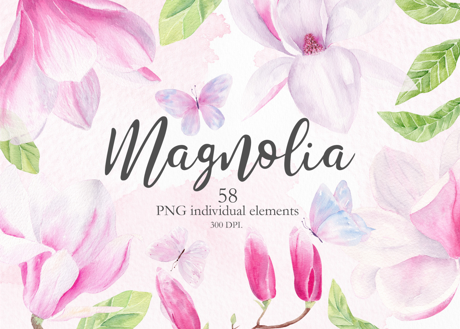 Magnolia Floral Watercolor Clipart in Illustrations on Yellow.