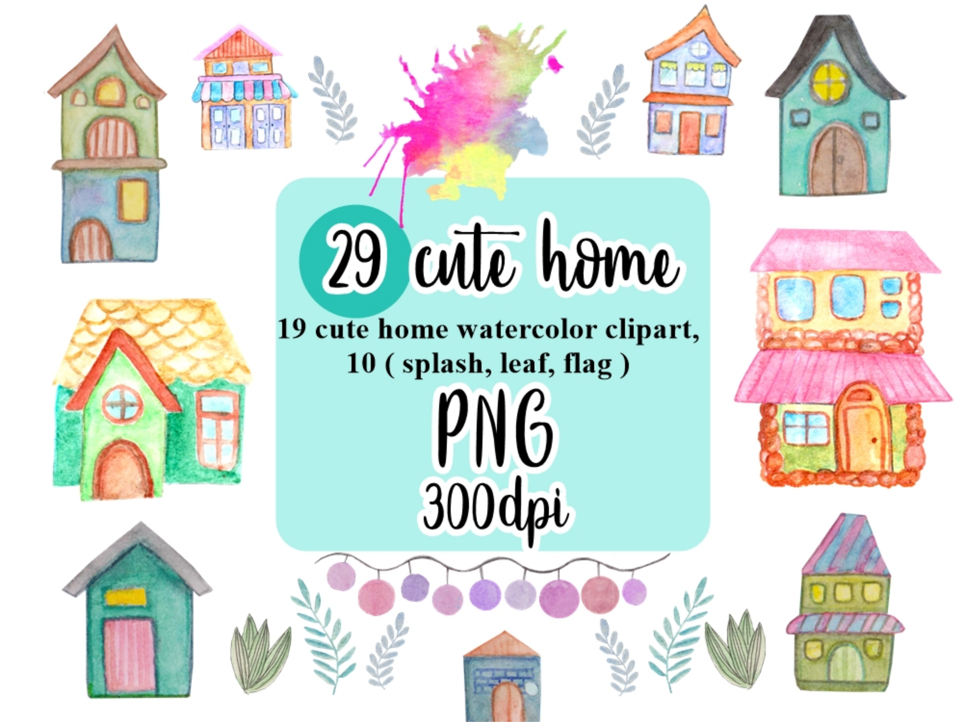 Home Watercolor Clipart.