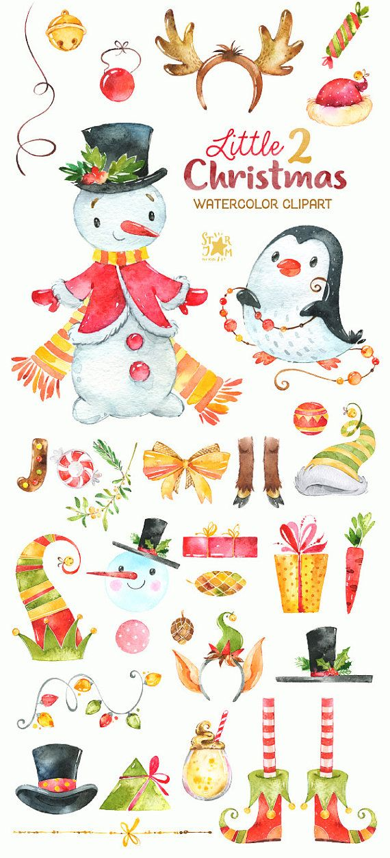 Illustrator Business Card Little Christmas 2. Watercolor.