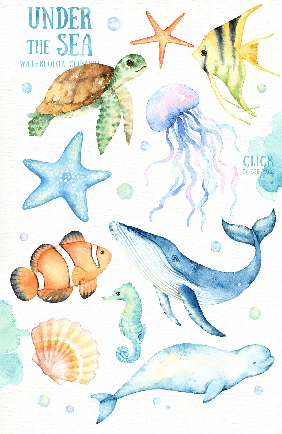 Under the Sea Watercolor Cliparts #wedding#Perfect#greeting.