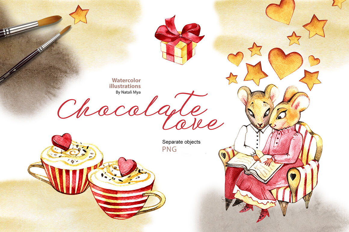 Watercolor cliparts. Chocolate love. By aquarelloaquarelle.