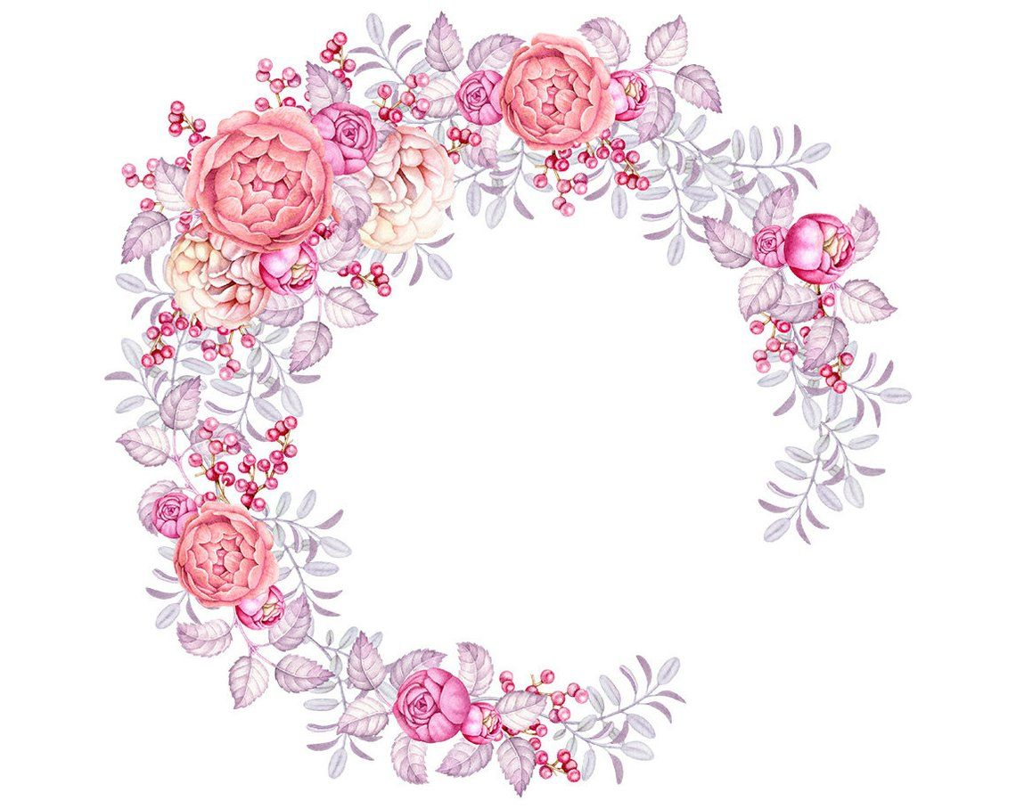 Watercolor Floral Wreath Clip Art, Digital Watercolor.