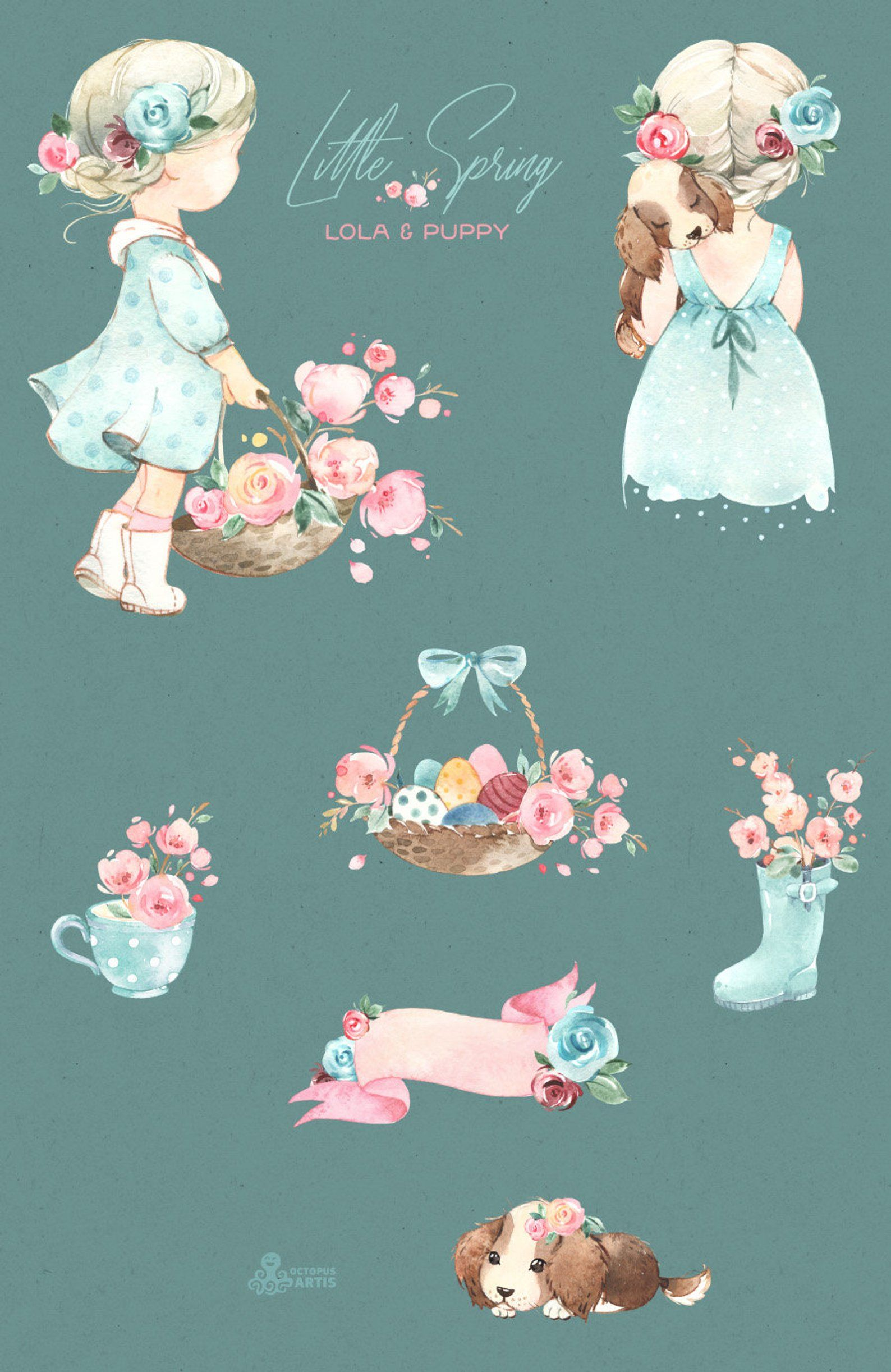 Little Spring. Lola & Puppy. Watercolor clipart, girl, doggy.