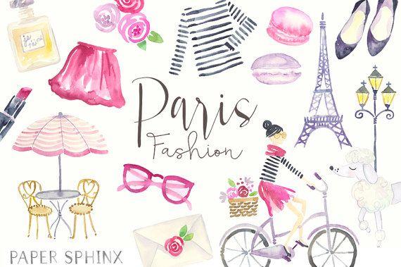 Watercolor Paris Clipart.