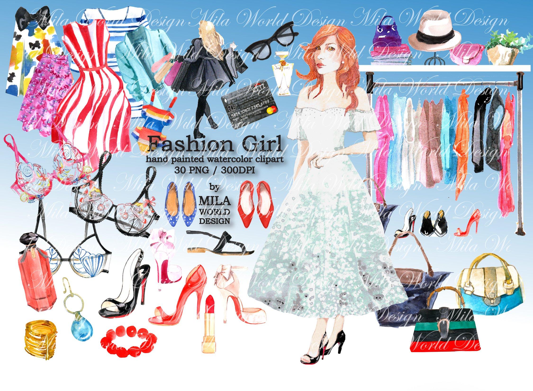 Fashion Girl Watercolor Clip Art ~ Illustrations ~ Creative.