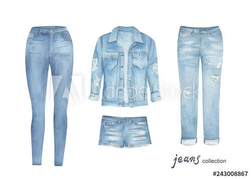 Fashion jean cloth set. Watercolor clipart. Hand drawn.