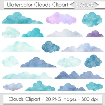 Watercolor Clouds Clip Art Digital Clouds Clipart Scrapbooking Baby Shower.