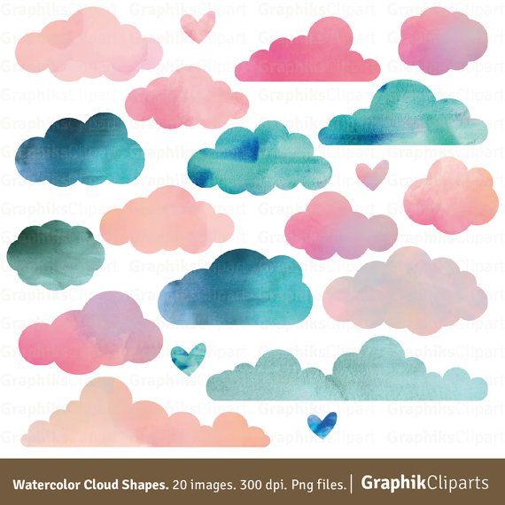 Watercolor Clouds Shapes. Watercolor textures, Children clip.