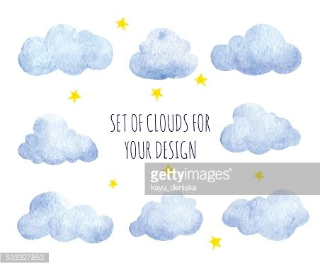 Set of watercolor clouds. Clipart Image.
