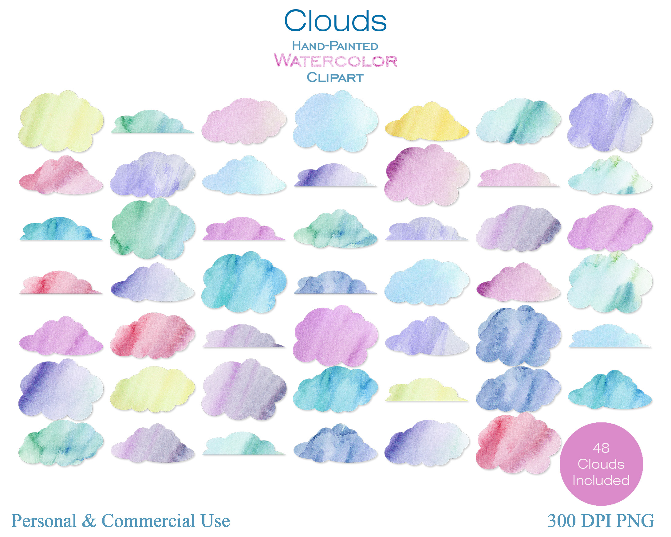 RAINBOW WATERCOLOR CLOUDS Clipart Commercial Use Watercolour Sky Clouds 48  Fluffy Pink Purple Blue Clouds Planner Sticker Graphics.