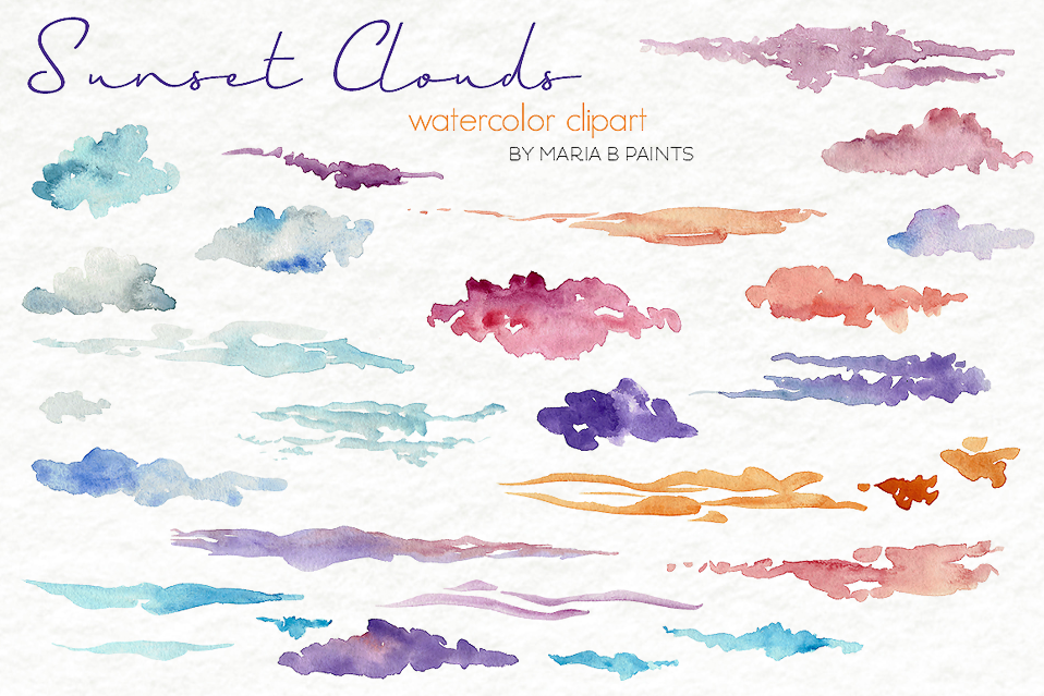 Sunset Clouds Watercolor Clipart.