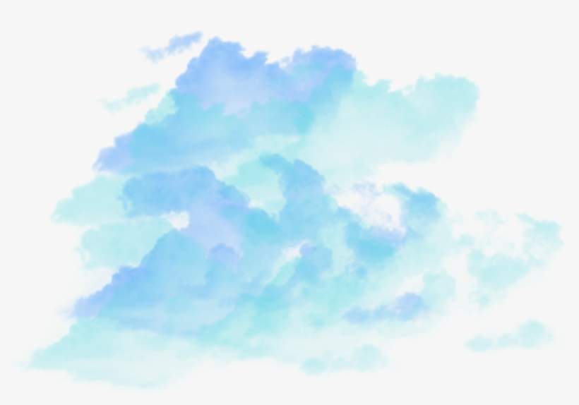 Ftestickers Watercolor Sky Clouds Coloredclouds Teal.