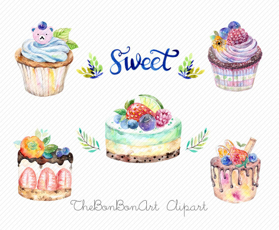 watercolor clipart. watercolor cake. Bakery Clipart. cupcake.