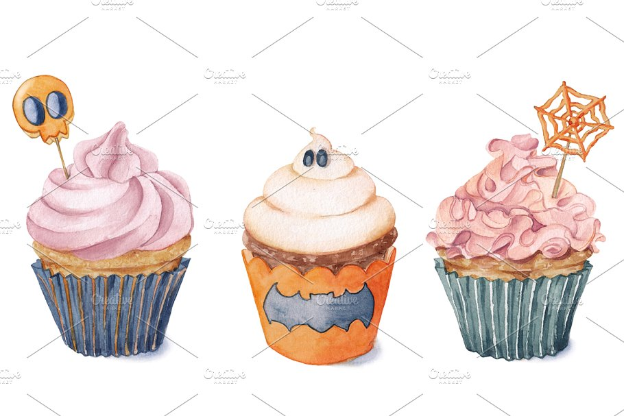 Watercolor cupcakes for Halloween..