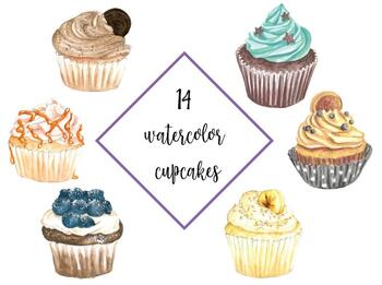 Watercolor Cupcakes Clipart, Muffins clip art, Cute Sweet desserts  watercolor.
