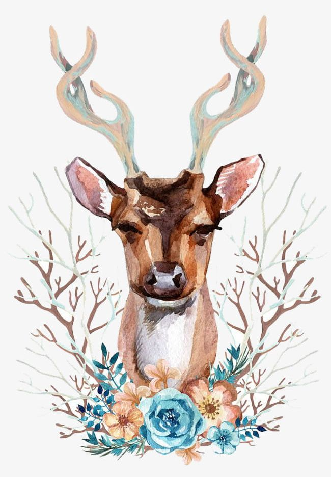 Watercolor Deer PNG, Clipart, Animal, Animals In The Wild.