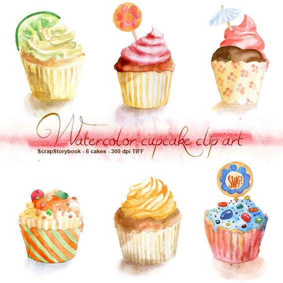Watercolor Cupcake Clip Art.