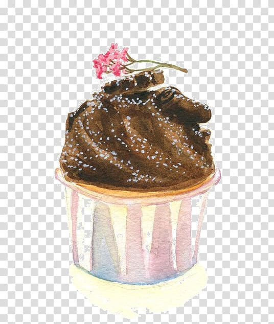 Cupcake Madeleine Chocolate cake Watercolor painting.