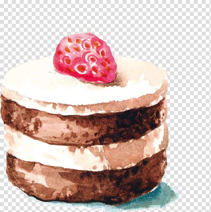 Chocolate cake Strawberry cream cake Watercolor painting.
