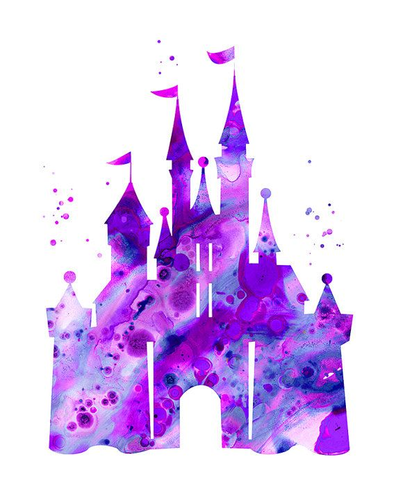 Purple castle printable art, Digital Download, Disney castle.
