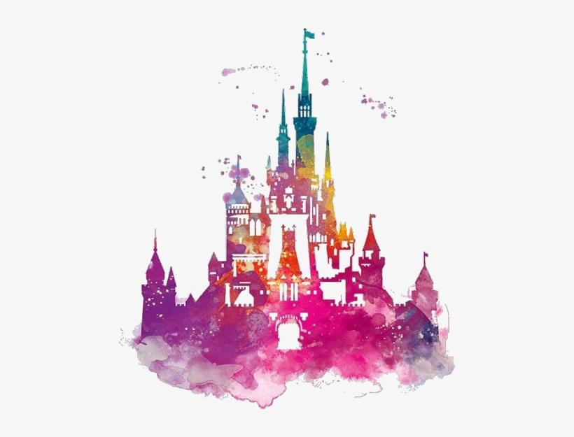 Disney World Castle Watercolor PNG Image.
