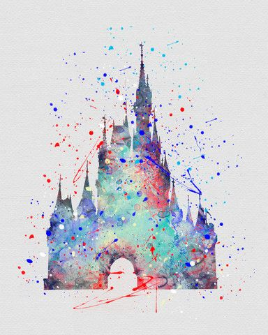 Cinderella Castle Watercolor Art. Everything on this site is.