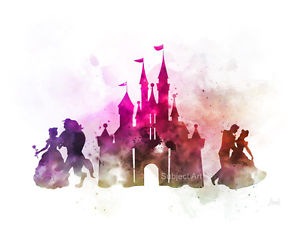 Details about ART PRINT Disney Castle, Beauty and the Beast, Cinderella  illustration, Wall Art.