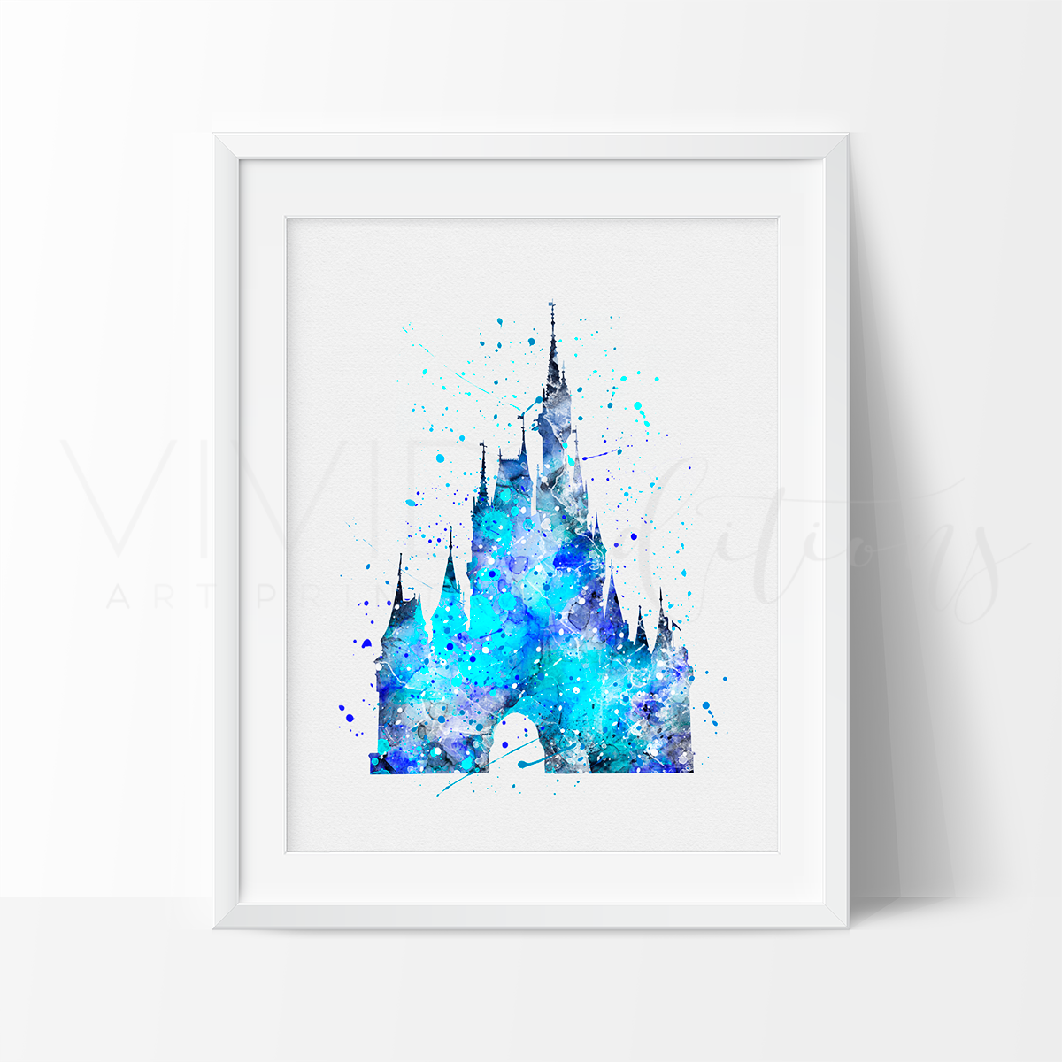 Cinderella Castle 5 Watercolor Art Print.