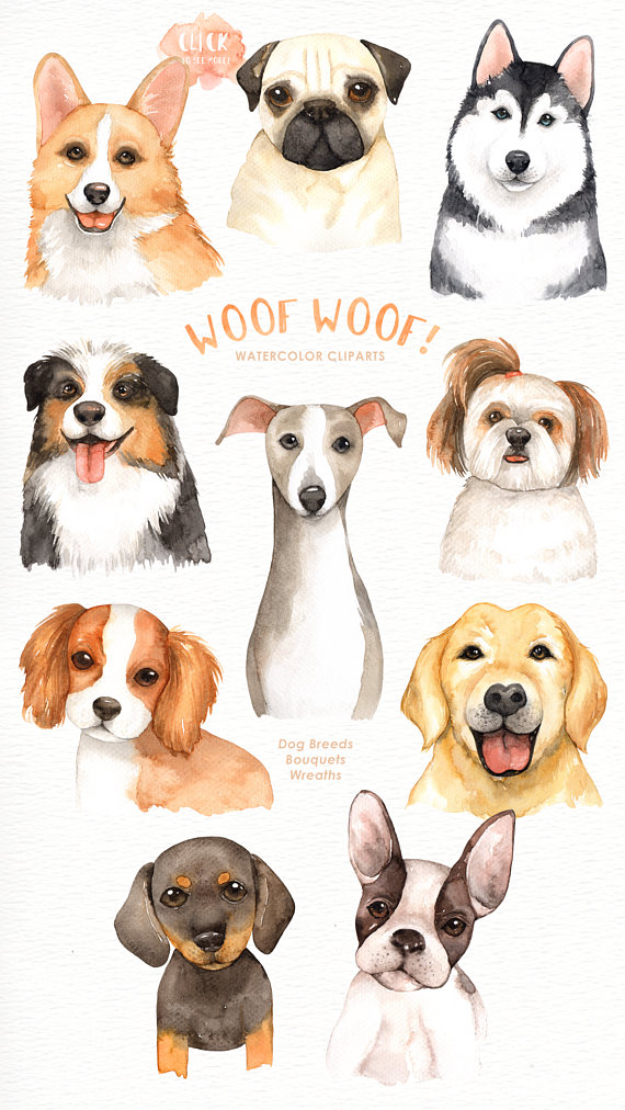 Woof Woof! Dogs Lover Cliparts, Woodland Animals, Kids.
