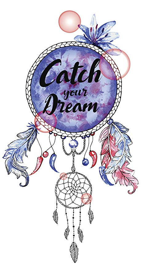 Catch Your Dream Calligraphy on Pastel Watercolor Dream Catcher Vinyl Decal  Sticker (4\