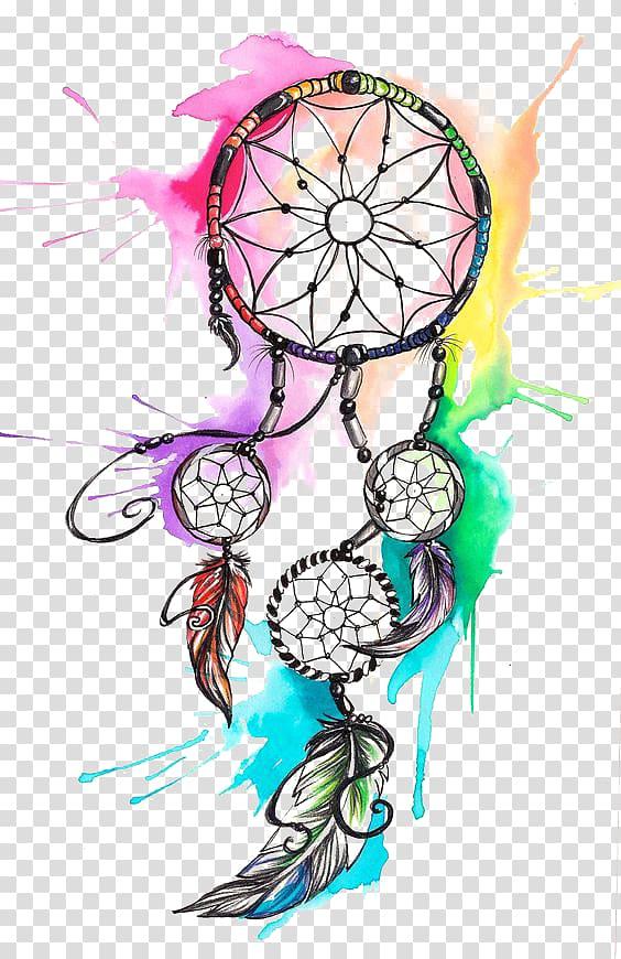 Dreamcatcher Tattoo , Watercolor Dreamcatcher, multicolored.
