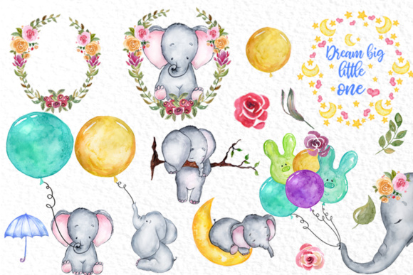 Cute Watercolor Elephant clipart,.