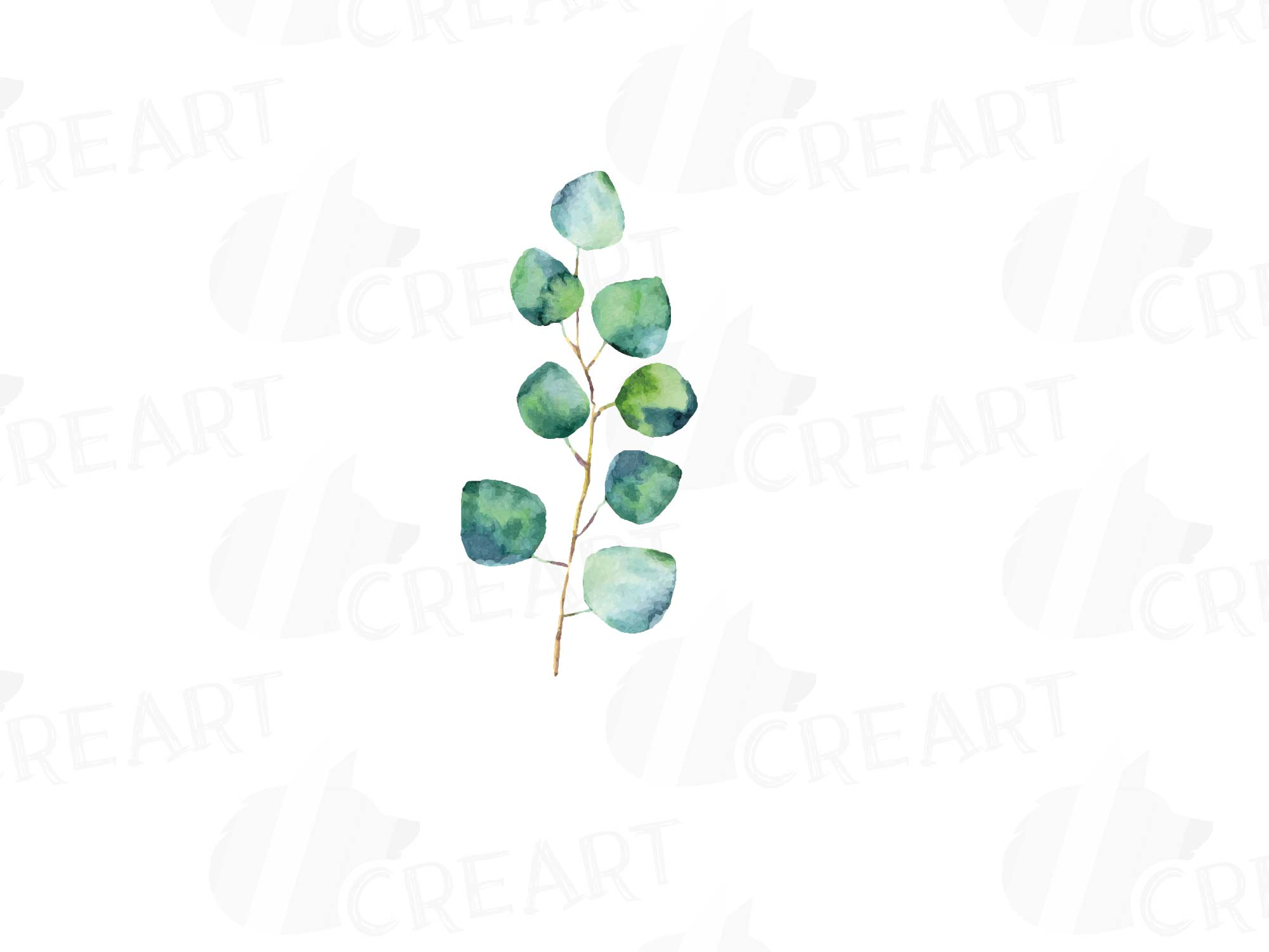 Eucalyptus leaves and branches watercolor clip art pack, Eucalyptus design  elements. PNG, jpg, svg, vector illustrator & corel files included.