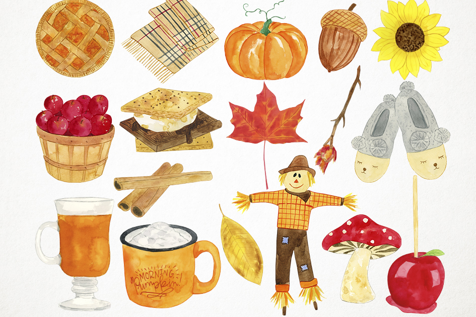 Watercolor Fall Clipart, Autumn Clipart, Harvest Clipart.