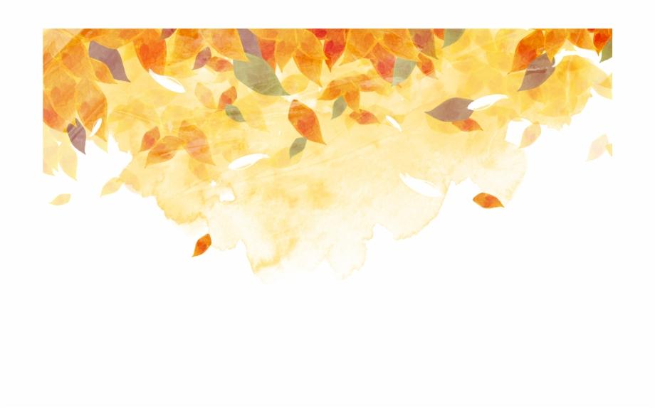 Golden Autumn Watercolor Painting Autumn Leaf Color.