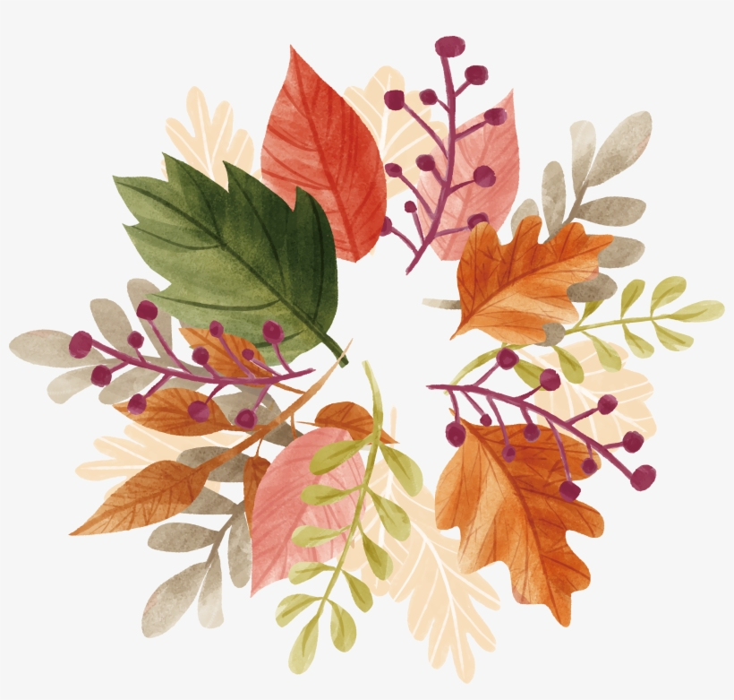 Watercolor Autumn Leaf Box Transprent Png Free.