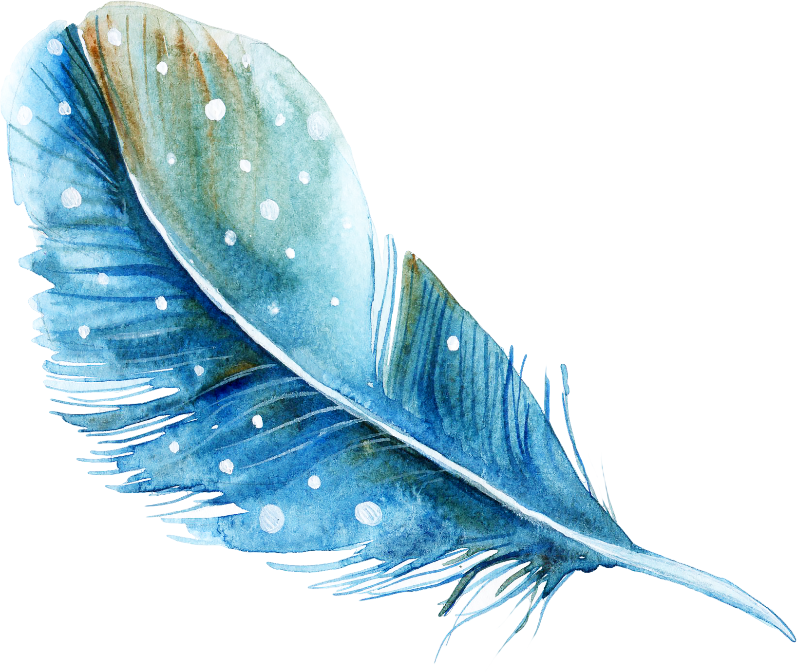Download Watercolor Feather Painting PNG Image High Quality.