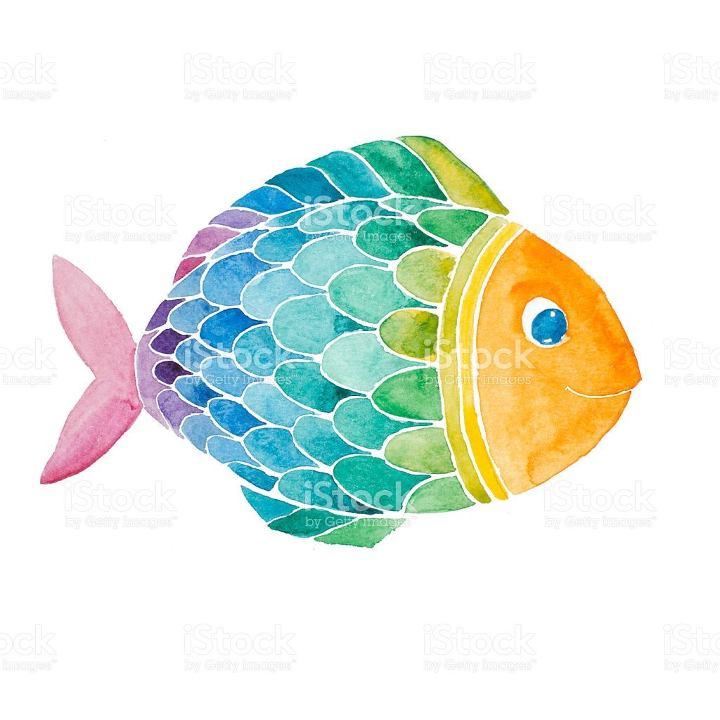 Rainbow smiling fish watercolor painted isolated on white.