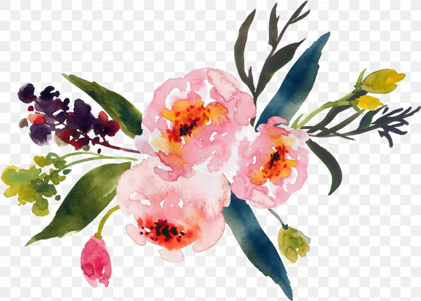 Flower Bouquet Watercolor Painting Clip Art, PNG.