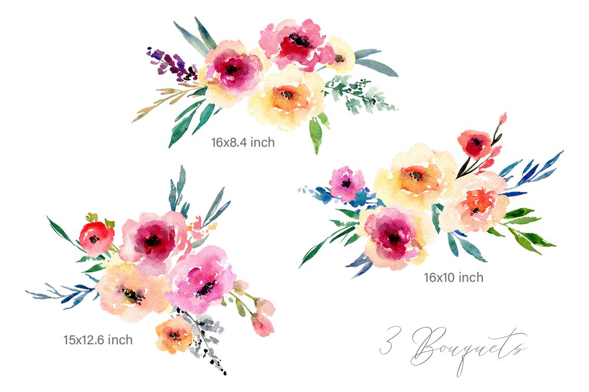 Watercolor Flowers Bouquets PNG.