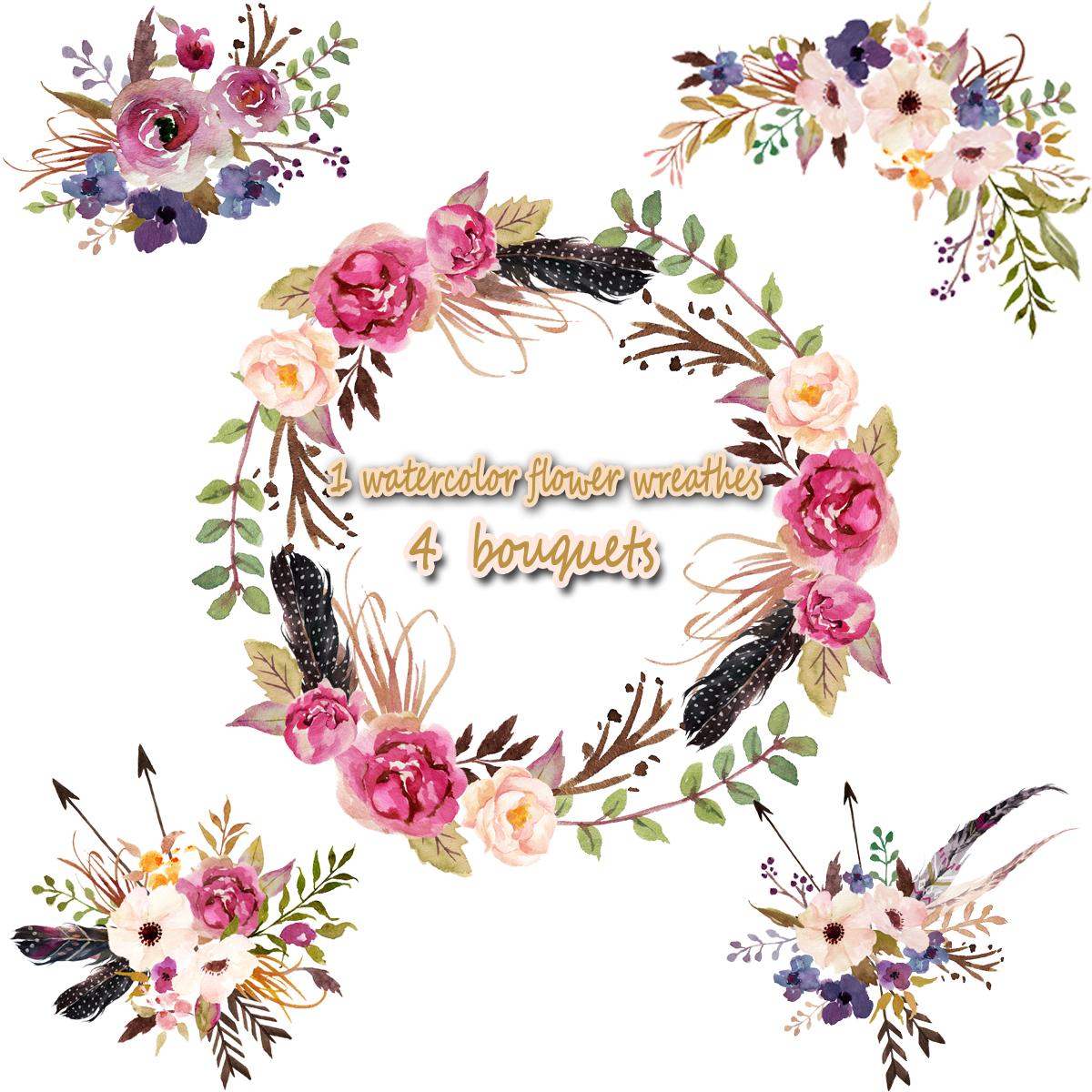 1 Watercolor Flower Wreathes & 4 Flower Bouquet, Floral Frame PNG, Wedding  Bouquet, Arrangement, Bouquet, Digital Paper, Green Flowers, Bridal Shower,.